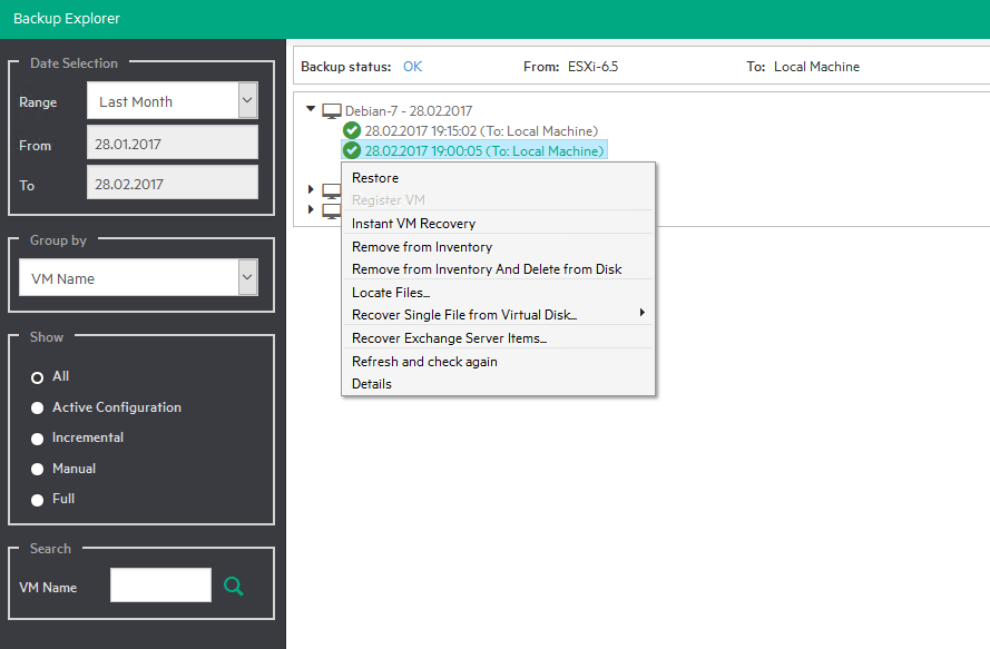 3 vmexplorer restore options