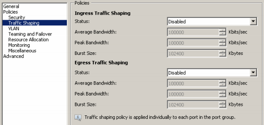 vsphere distributed vswitch gestione traffic shaping client
