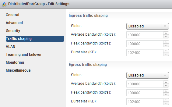 vsphere distributed vswitch gestione traffic shaping web client