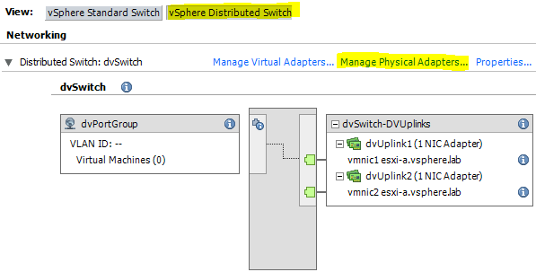 vsphere distributed vswitch gestione uplink client 1