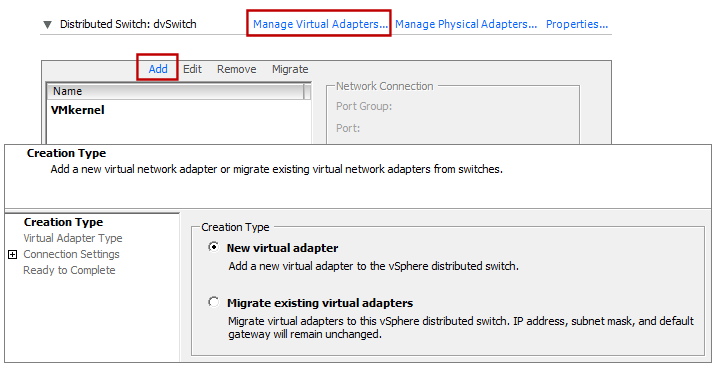 vsphere distributed vswitch new virtual adapter client