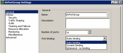 vsphere distributed vswitch port binding client