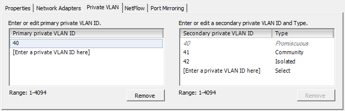 vsphere distributed vswitch private vlan client