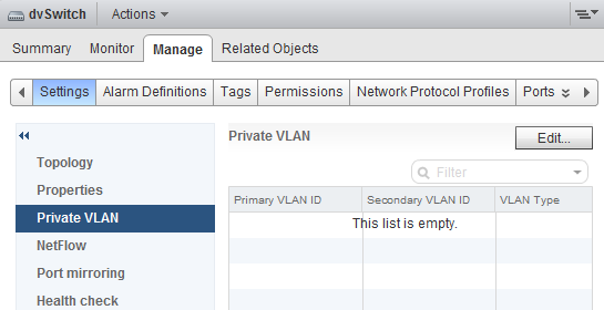 vsphere distributed vswitch private vlan web client