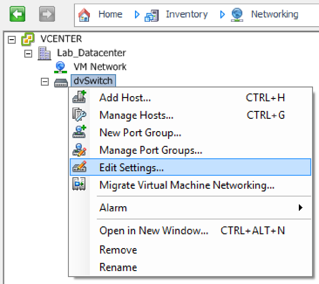 vsphere distributed vswitch settings client 1