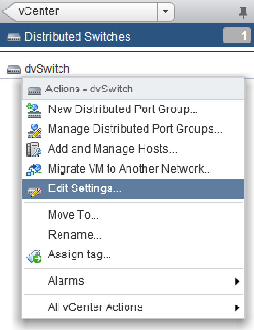 vsphere distributed vswitch settings web client