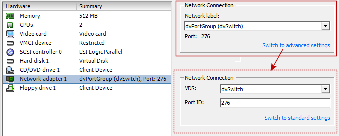 vsphere distributed vswitch vm client 1