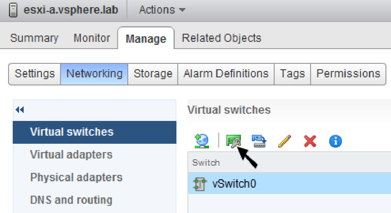 vsphere standard virtual switch aggiungere interfaccia uplink web client 1