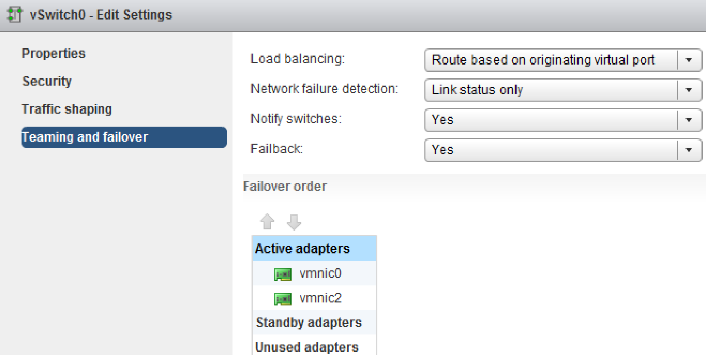 vsphere standard virtual switch teaming failover web client 2